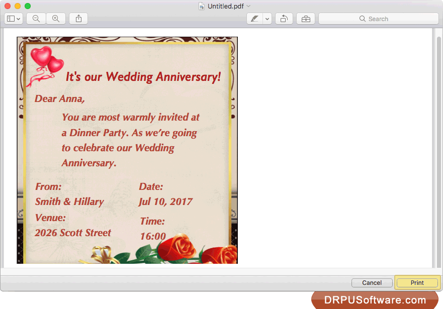 Freeware Anniversary Invitation Cards Designer for Mac by
