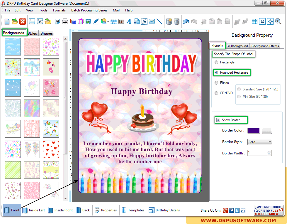 Drpu Birthday Card Designer Software Design Printable Customized Birthday Card