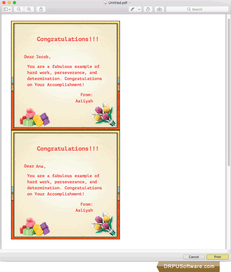 Freeware Congratulations Greeting Cards Designer For Mac By Drpu