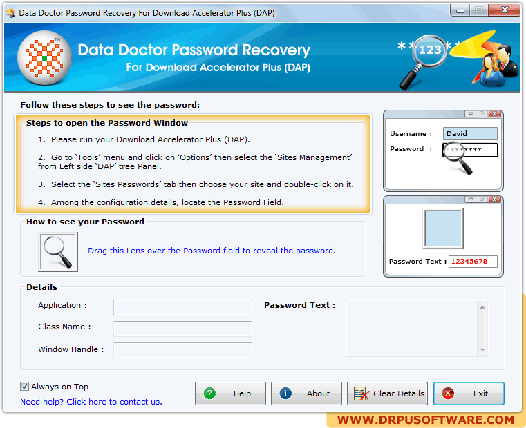 Password Recovery Software For Download Accelerator Plus to recover