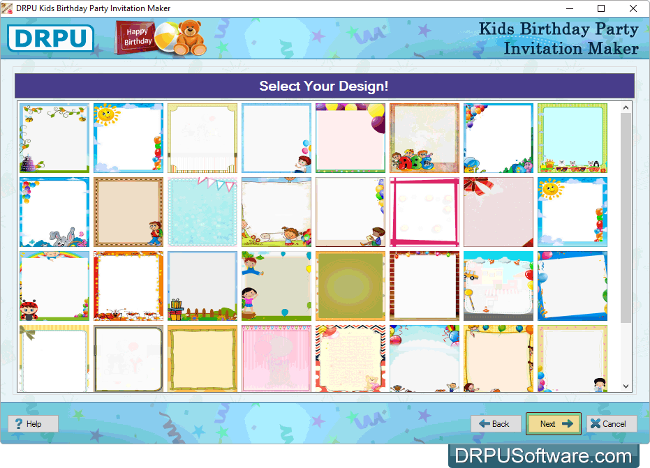 Freeware drpu kids birthday party invitation card maker select your design stopboris Image collections