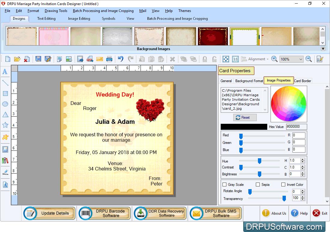Create stunning wedding invitations with drpu free invitation card maker marriage party invitation card stopboris Choice Image