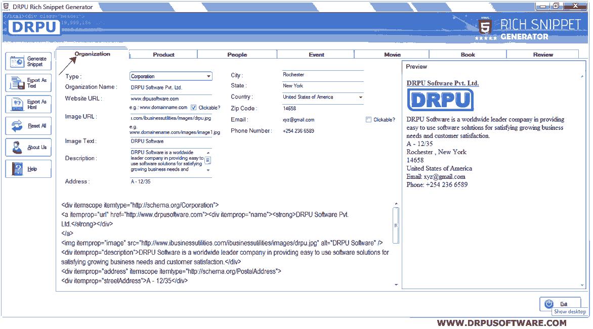 DRPU - Rich Snippet Generator software create microdata