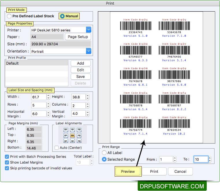 DRPU Mac Barcode Label Maker Software - Standard Edition