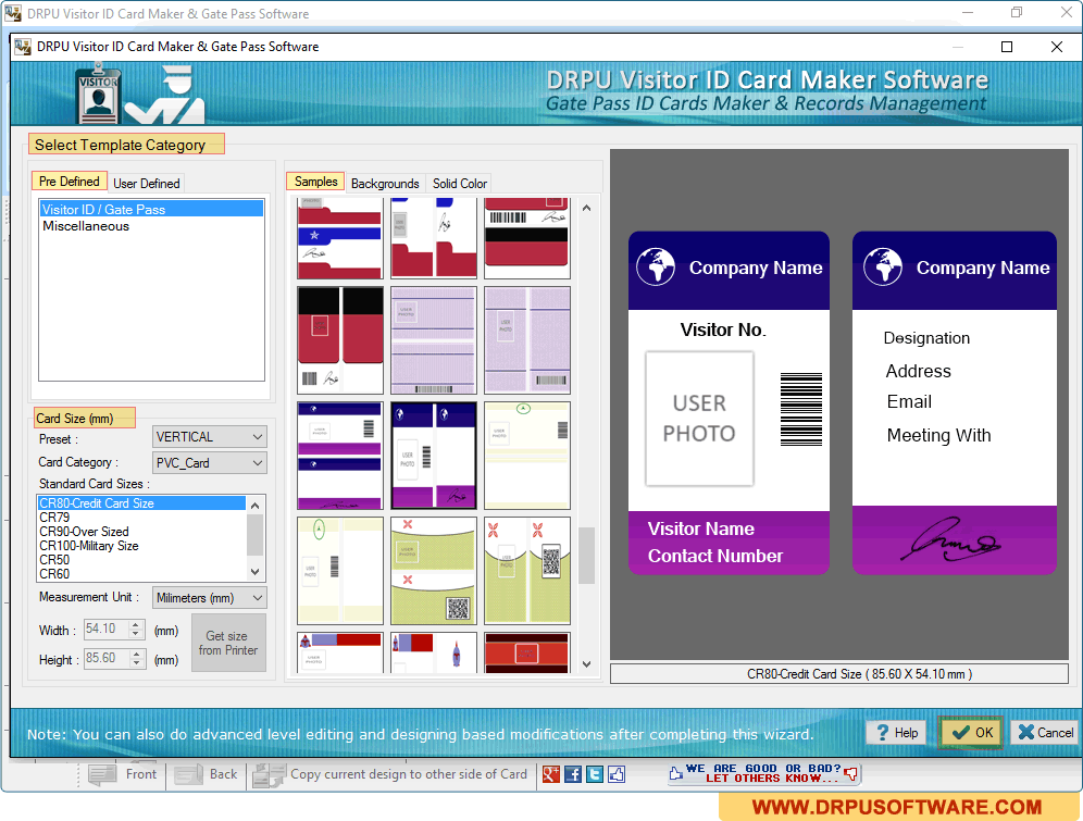 screenshots of drpu gate pass id cards maker visitors management