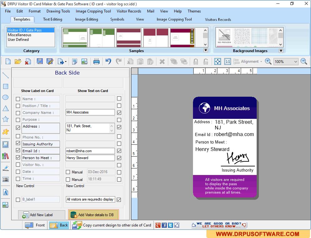 Gate amp; Management Id Visitors Cards Screenshots Pass Drpu Software Maker Of