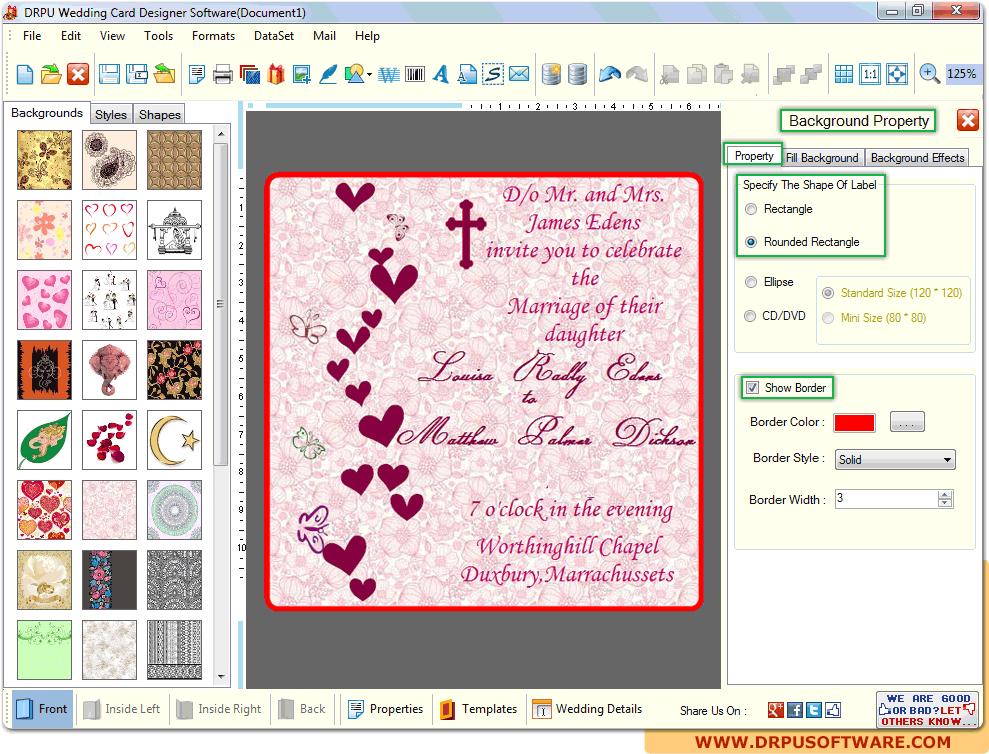 Screenshot of DRPU Wedding Card Designer Software to design